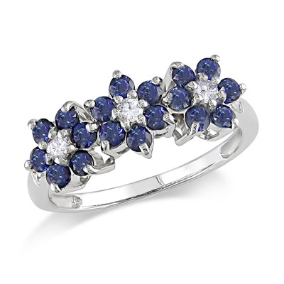 Amour Collection 10K White Gold White Sapphire and Sapphire with Diamond Flower Ring (.01 Cttw, G-H Color, I2-I3 Clarity)