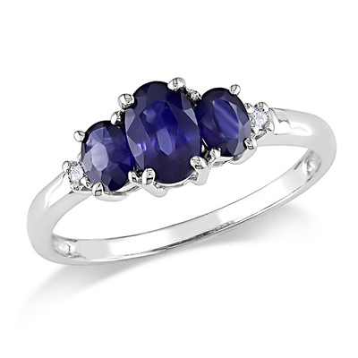 Amour Collection 10K White Gold Sapphire and Diamond Three Stone Ring (.02 Cttw, G-H Color, I2-I3 Clarity)
