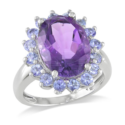 5 7/8 CT TGW Oval Amethyst and Tanzanite Halo Cocktail Ring in Sterling Silver