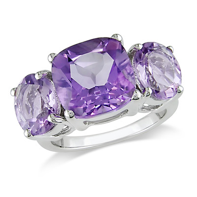 Amour Collection Sterling Silver Amethyst and Pink Amethyst Ring