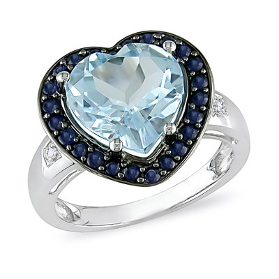 Amour Collection 10K White Gold Sky Blue Topaz and Sapphire with Diamond Heart Ring (.01 Cttw, G-H Color, I1-I2 Clarity)