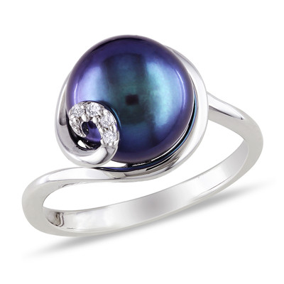 9 - 9.5mm Black Freshwater Cultured Pearl Ring with Diamonds in Sterling Silver