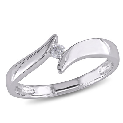 Solitaire Diamond Bypass Engagement Ring in 10k White Gold