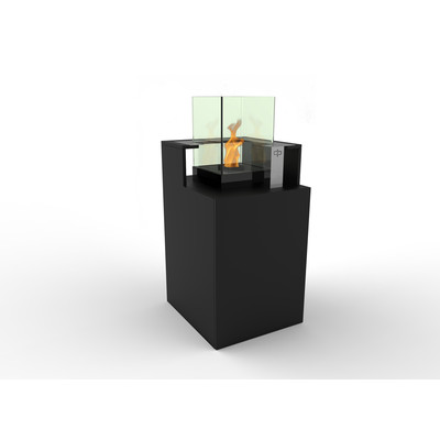 Podium Bio Ethanol Fireburner and Storage Unit In Black Textured