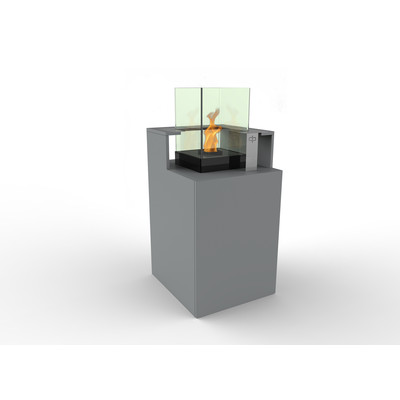 Podium Bio Ethanol Fireburner and Storage Unit In Silver Grey
