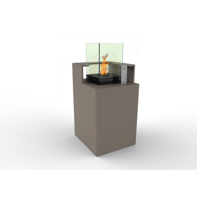 Podium Bio Ethanol Fireburner and Storage Unit In Latte