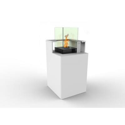 Podium Bio Ethanol Fireburner and Storage Unit In White