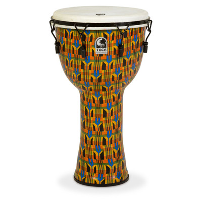 "Toca Freestyle Mechanically Tuned Djembe with Bag - Kente Cloth, 14"" - Toca - SFDMX-14KB"