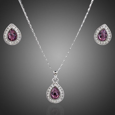 18K White Gold Plated Pear Cut Amethyst Jewellery Set