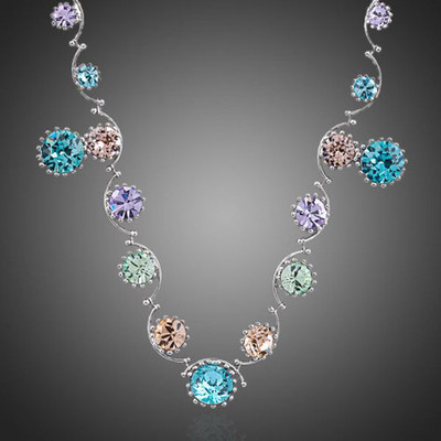 18K White Gold Plated Multicolor Jewellery Set