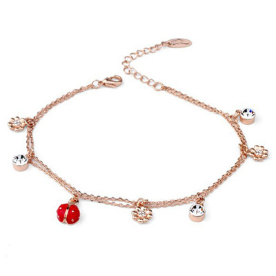 18K Gold Plated Lady Bug Anklet