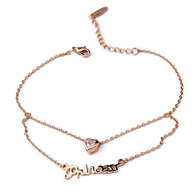18K Gold Plated Princess Heart Anklet