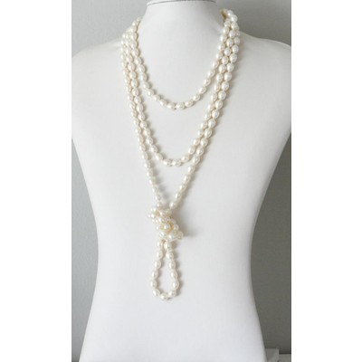 Stunning Cream Rice Pearl Long Necklace
