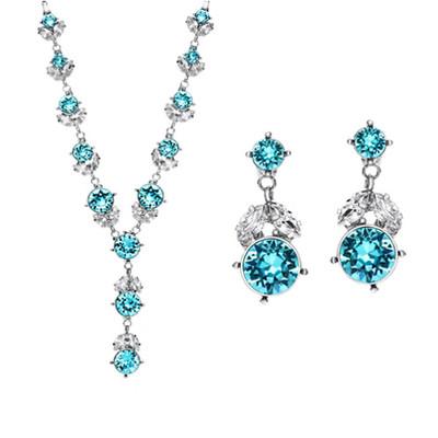 Platinum Plated Turquoise Blue Swarovski Elements Jewellery Set