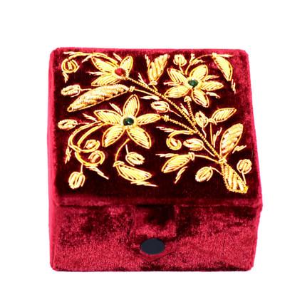 Vintage Burgundy Velvet Jewelry Box