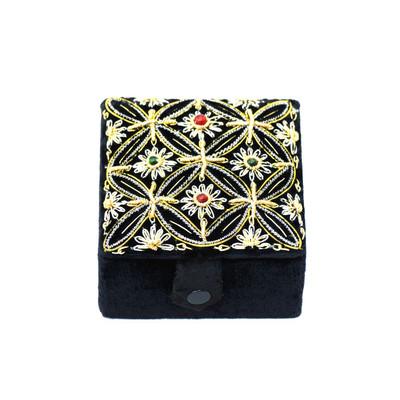 Black Velvet & Satin Vintage Jewelry Box