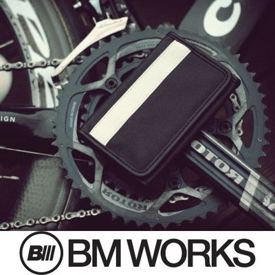 BM WORKS Road Wallet Classic Black/White Medium Size - Trifold Cycling Wallet with Smartphone Case & Touch Screen