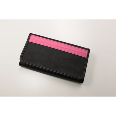BM WORKS Road Wallet Classic Black/Pink Large Size - Trifold Cycling Wallet with Smartphone Case & Touch Screen