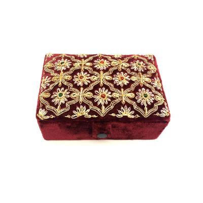Hand-Crafted Burgundy Velvet Jewelry Box