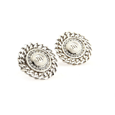 Silver and White Crystal Cufflinks