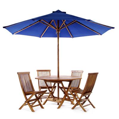 TEAK Round Table Set - blue
