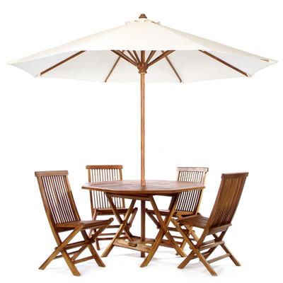 TEAK Round Table Set  - white