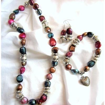 Irregular Shape Multi Color Fresh Water Pearls Set (Dark Purple-Green)