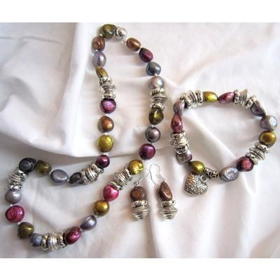 Irregular Shape Multi Color Fresh Water Pearls Set (Grey-Dark Red)