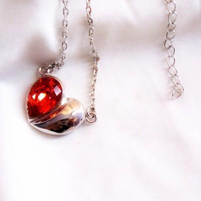 18K White Gold Pink   Swarovski Crystal Necklace