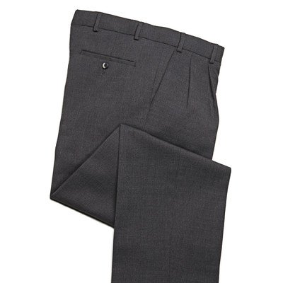 Comfort Stretch Wool Blend Men's Dress Pant, 2 Pleats, Grey
