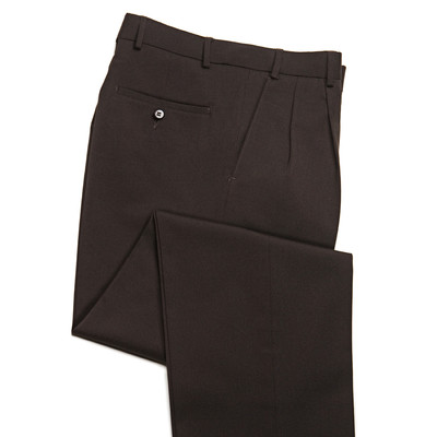 Comfort Stretch Wool Blend Men's Dress Pant, 2 Pleats, Brown