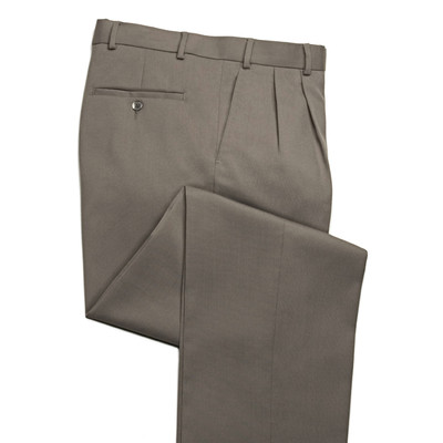 Comfort Stretch Wool Blend Men's Dress Pant, 2 Pleats, Khaki Tan