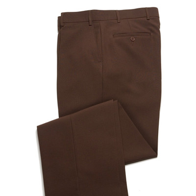 Comfort Wool Blend, Expandable Waist Pants - Flat Front - Brown