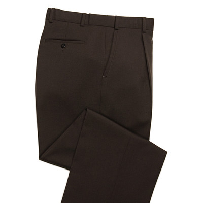 Comfort Stretch Expandable Waist, Wool Men's Dress Pant,Brown - 1 Pleat