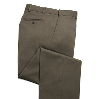 Comfort Stretch Expandable Waist, Wool Men's Dress Pant, Khaki - 1 Pleat