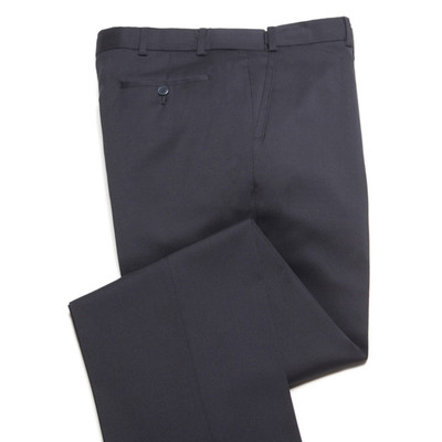 Comfort Stretch Wool, Expandable Waist Men's Dress Pant - Flat Front - Navy