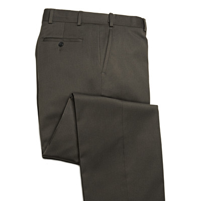 Comfort Stretch Wool, Expandable Waist Men's Dress Pant - Flat Front - Olive Sage