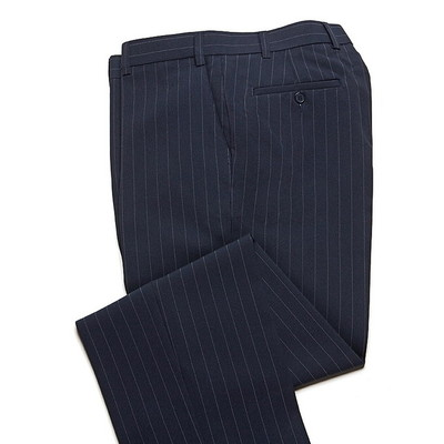 Haband Wrinkle Resistant Men's Dress Pant - Flat Front - Navy Blue Stripe