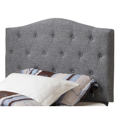 TWIN TUFTED LINEN UPHOLSTERED HEADBOARD-GREY