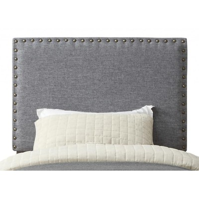 TWIN STUDDED UPHOLSTERED HEADBOARD ONLY-GREY