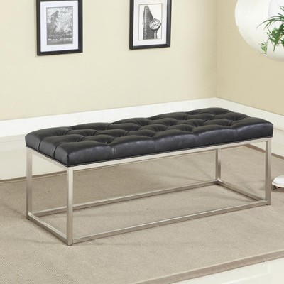 BUTTON TUFTED FAUX BLACK LEATHER BENCH