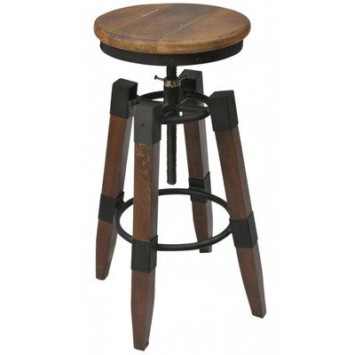 ADJUSTABLE HEIGHT STOOL FOR BAR OR COUNTER IN MANGO WOOD AND BLACK WROUGHT IRON