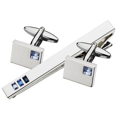 SWAROVSKI CRYSTAL CUFFLINKS/ TIE BAR SET