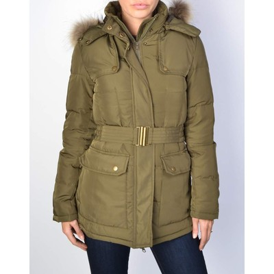 YDE  BELTED DOWN JACKET WITH FUR TRIM