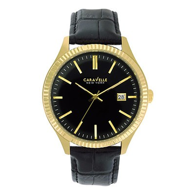 Mens Yellow Dress with Black Strap Watch