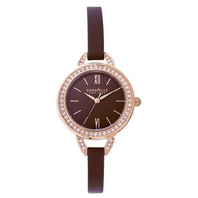 Ladies Rose Gold Crystal Strap Watch