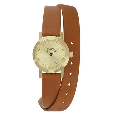 Ladies Brown Strap with Yellow Dial Dress Watch