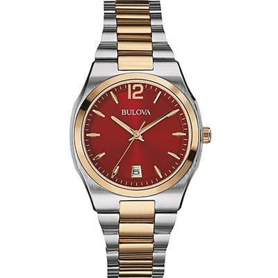 Ladies Two-tone Bracelet with Red Dial Dress Watch