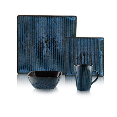 Bamboo Blue Dinnerware Set 16 PC Service for 4