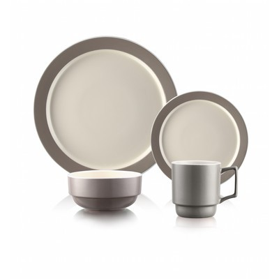 Taupe Stackable 16 Piece Dinnerware Set for 4